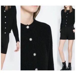 Zara crystal button knit cardigan sweater sz M
